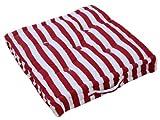 """Homescapes '""""Thick Stripe Rosso Cuscino per sedia, 100% cotone, fondo cuscino, quadrato. Colori: Rosso. Adatto per ambienti interni, mobili da giardino, sedie e poltrone, cotone, Rot, 40 x 40 cm"""