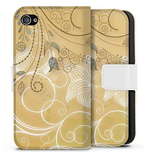Apple iPhone X Silikon Hülle Case Schutzhülle Tulpe Pastell Floral Sideflip Tasche weiß