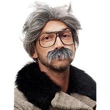 WIG ME UP ® - 4129-P103-68A Peluca y Bigote gris Carnaval Halloween Einstein abuelo, viejo, científico loco, Mad Scientist, profesor
