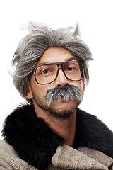 Idea Regalo - WIG ME UP ® - Parrucca da Carnevale/ Halloween, Nonno bizzarro con Baff i Grigi 4129-P103-68A