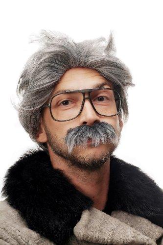 Opa Kostüm Bis - WIG ME UP Fasching Karneval Halloween Opa Kauz Professor kauziger Alter Großvater Perücke & Bart grau 4129-P103-68A