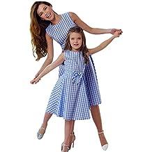 QinMM Vestido de Cuadros de Niña y Mamá Mujer, Vestido de Partido Familiar de Noche