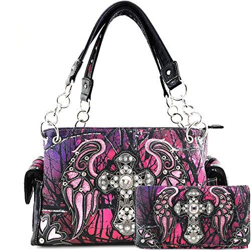 Justin West Handtasche/Portemonnaie/Kuriertasche/Portemonnaie/Kuriertasche mit Strasssteinen und Kreuzflügeln, Violett (violett), Large - Brieftaschen Bling Western