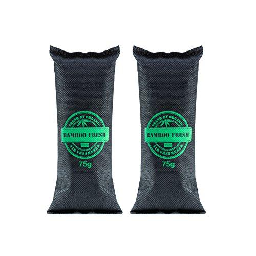 Bamboo Fresh Bambus Aktivkohle Geruchsneutralisierer & Luftentfeuchter | natürlich & hocheffektiv | 100% biologisch abbaubar & umweltfreundlich (2 x 75 Gramm) Das Sonderformat für SCHUHE (Kohle-schuhe)