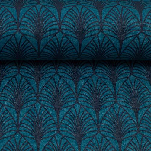 Swafing Beschichtete Baumwolle Leona/Blätter, Petrol - Baumwolle Blatt