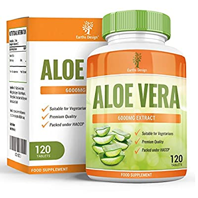 Earths Design Aloe Vera, Maximum Strength Supplement for Weight Loss, Gently Cleanses and Detoxifies Your Digestive Tract, Heals and Moisturizes Your Skin, 6000mg, 120 Tablets by Earths Design