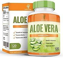 Earths Design Aloe Vera, suplemento de concentración máxima para adelgazar. Limpia el tracto intestinal y elimina toxinas. Cura e hidrata la piel, 6000mg - 120 pastillas