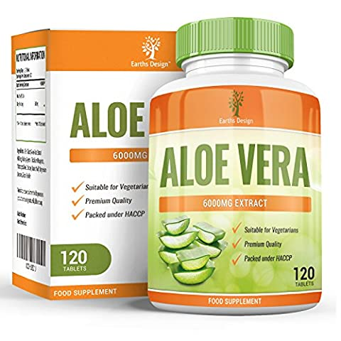 Aloe Vera 6000mg - Maximum Strength Supplement For Men & Women - Get TWICE the Amount of Other Brands - Suitable for Vegetarians- 120 Tablets (2 Months Supply) by Earths Design