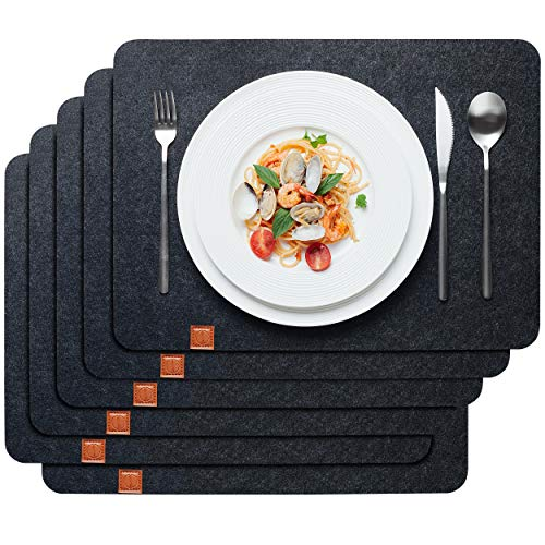 Sidorenko Edles Platzset Filz 6er Set anthrazit - Premium Tischset Filzuntersetzer - Waschbare Tischuntersetzer Platzdeckchen - Abwischbar grau Untersetzer Filzmatte