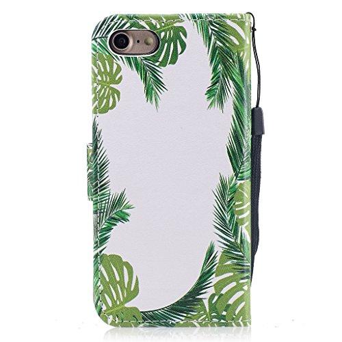 iPhone 7 Hülle,Fodlon® Mode Gemalt Karte Schlitze mit Schlüsselband Telefon Schutzhülle -Einhorn Grüne Blätter