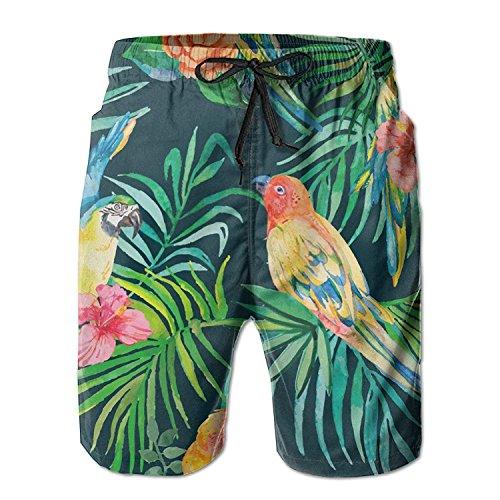 khgkhgfkgfk Tropical Parrots Men's Beach Shorts Swim Trunks Medium