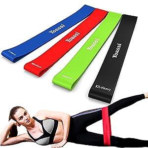 Yoassi Fitnessband Set 4-Stärken Widerstandsbänder-Stretchband Fitness Gymnastik Gummibänder für Muskelübungen/Sport/Yoga/Dehnen …