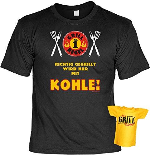 Grill Regel Nr. 1 Geschenke Set für Männer - Griller T-Shirt mit Mini Shirt It´s Grill Time - BBQ Geschenk für Ihn Schwarz