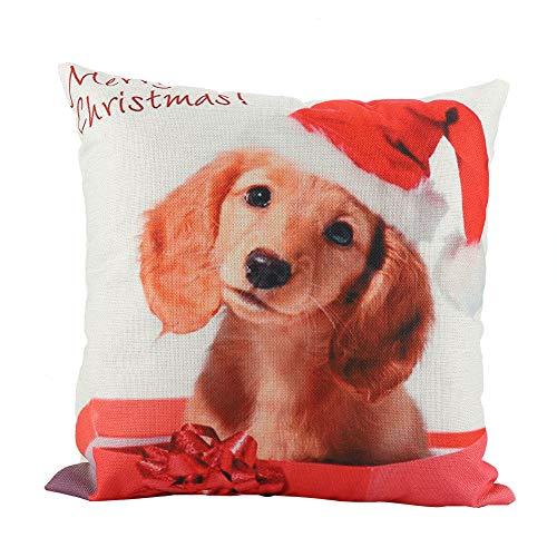 Fdit Wurfkissenbezug Weihnachten Wurst Hund Kissenbezug Kissenbezug Platz für Kissen Heim Couch Bett Dekor(#1) -