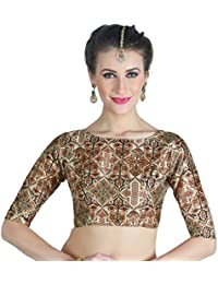 becfa60340d STUDIO SHRINGAAR WOMEN S POLY SILK DIGITAL PRINTED BROWN COLOUR SAREE BLOUSE  WITH BOAT NECK