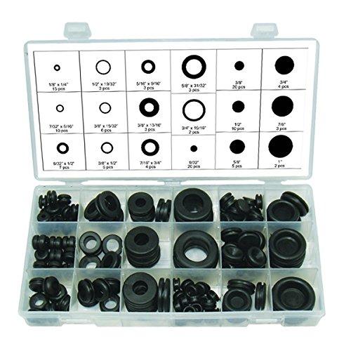 GUNPLA 125Stück schwarz Gummi-Tülle Sortiment Set Plug Draht Ring Sortiment Kit Elektrischer Dichtung Tools Unterlegscheiben Dichtungen