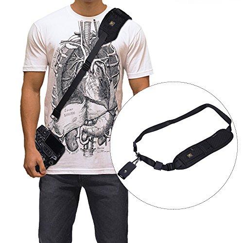 KYG Kamera Schultergurt Quick Strap Nylongewebe Tragegurt für SLR DSLR Digitalkamera Sony Canon Minolta Nikon Olympus Pentax(Schwarz)