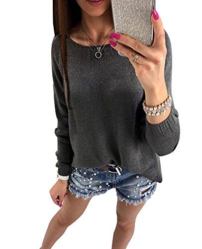 Minetom Femme Chic Zipper Pull Tricot Manches Longues Slim Jumpers Sweater Hauts Sweatshirt Pullover Noir