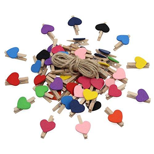 KEESIN Foto Clips Natürliche Minni Holz Wäscheklammern Fotopapier Peg Herzform DIY Handwerk Clips mit 10 m Jute Twine (Bunt Herz-50 Stücke) -