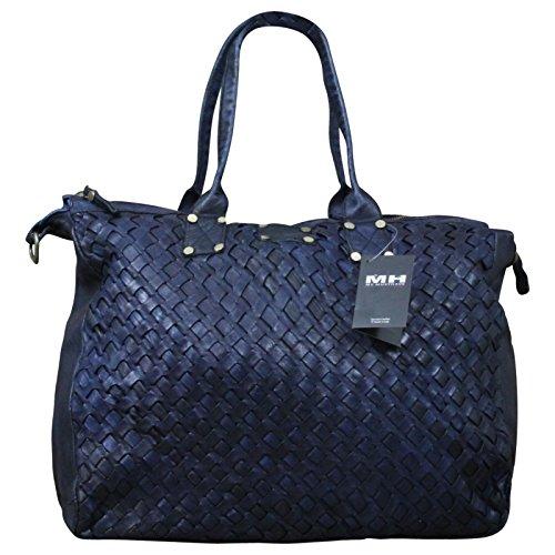 Ital. echt Leder Vintage Shopper Ledertasche Shopper Schulter Tasche Leder Vintage Geflochten, Farbe:Gelb Blau