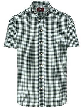 OS Trachten Moser Trachten Trachtenhemd Kurzarm Grün Kariert 112337 von, Material Baumwolle, Liegekragen