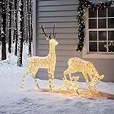 Lights4fun LED Rentier Familie warmweiß strombetrieben Timer innen und außen