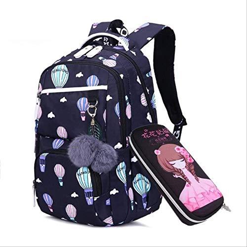 OFOO Schulranzen Schulranzen für Mädchen Russland elementarer Schulrucksack süßer Blumendruck rosa Rucksack Schulranzen Mädchen Buchtasche schwarz mit Ballon -