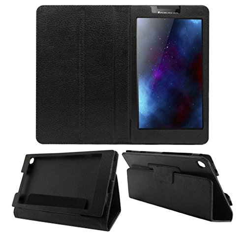 Acm EXE0171B Executive Leather Flip Case For Lenovo Tab 2 A7-30 Tablet Front & Back Flap Cover Stand Holder Black