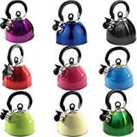 2.5L STAIINLESS STEEL LIGHTWEIGHT WHISTLING KETTLE CAMPING FAST BOIL FISHING NEW (METALLIC BLACK)