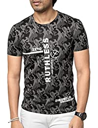 ZEYO Mens Round Neck Half Sleeve Tshirt Grey Camouflage Regular Fit Stylish T-Shirt