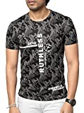 Zeyo Premium MERSERIZE Mens Round Neck Half Sleeve Tshirt Grey Camoflage Regular Fit Stylish T-Shirt