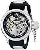 Invicta Men's Mechanical Watch with Silver Dial Analogue Display and Black Plastic Strap 1088