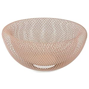 MACOSA WV45817 Design Deko-Schale rund Alt-Rosa   Metall/Draht   Obstkorb Tischdekoration Wohnaccessoire Drahtschale Drahtkorb Deko-Korb Accessoire
