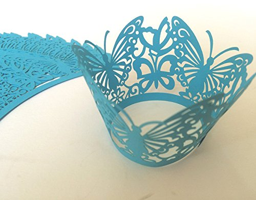 24 x blau CUPCAKE WRAPPER Manschetten Verpackung Deko Muffin Hüllen Hochzeit Party W1