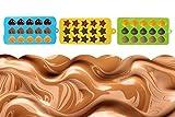 Silicona Marrón y Candy moldes–Juego de 3corazones, estrellas y conchas mini cera moldes para Chocolate, Candy, GOMINOLA, Jelly