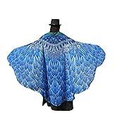 BYSTE Donne Ali delle Farfalle Scialle sciarpe Le signore Nymph Pixie Pavone Poncho Costume Accessorio (B-Blu)