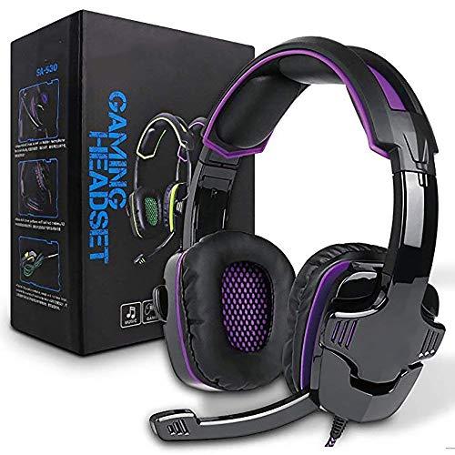 ZUEN Kopfhörer Computer-Headset Hochwertiges, Atmungsaktives Komfort-Stereo-Heimkino in Lila