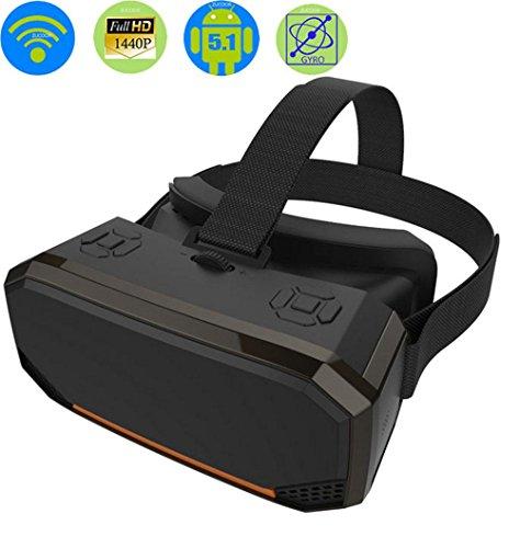 HUYAN1 3D VR Box Virtual Reality Goggles Android 2560 * 1440P Alles in Einem VR Brillenhelm Video Film Spiel Wireless Bluetooth Gamepad