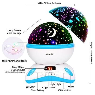 Moredig - Sternenhimmel projektor lampe, musik nachtlicht lampe 360¡ã Grad Rotation + 12 beruhigende musik + 8 romantische licht, perfektes f¨¹r kinder, geburtstage, halloween von Moredig bei Lampenhans.de