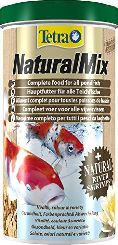 Tetra Naturel Mélange Poisson Nourriture pour Poisson de Bassin, Nourriture complète avec rivière crevettes Riche en prothèses de Couleur Naturelle, 1 Litre