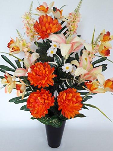 Composition de fleurs artificielles en cône lesté ciment pour une parfaite tenue de votre bouquet de fleurs, plus besoin de sable, ce vase en PVC se dépose dans un vase funéraire. (Orange)
