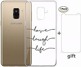 Cover Samsung Galaxy A6 2018 Ttimao Ultra Sottile Trasparente Morbido Flessibile TPU Silicone [ Film in Vetro Temperato] Shockproof Anti-Scratch Telefono Caso-Lettera