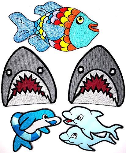 Meer Erwachsene Sweatshirt (i-Patch - Patches - 0171 - Delfin - Wal - Hai-Fisch - Meeres-Fisch - Raub-Fisch - Meer - Aquarium - Tiere - Zoo - Applikation - Aufbügler - Flicken - Aufnäher - Sticker - Badges - Bügelbild - Jungen)