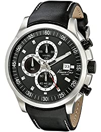 Kenneth Cole Homme 45mm Chronographe Noir Cuir Bracelet Date Montre KC8093