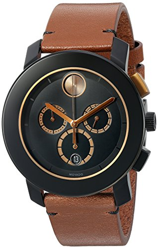Movado Men's Swiss Quartz Stainless Steel and Leather Automatic Watch, Color:Brown (Model: 3600348)