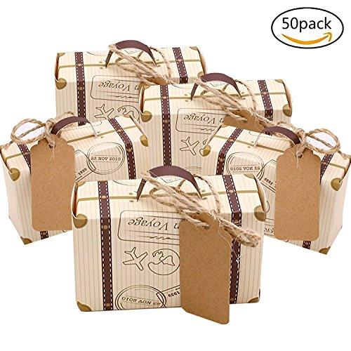 Faylapa 50 Sets Reise Themed Koffer Süßigkeitskästen Vintage Kraftpapier Geschenktüte für Reise Thema Party Hochzeit Geburtstag Brautdusche (Vintage Baby-dusche-bevorzugungen)