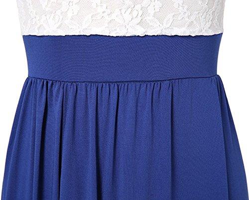 Donna Primavera Estivo da Vestito Maxi da Cerimonia Sera Partito Lungo Aderente con Apertura sull'Orlo Vestiti Casualin Crepe Vestito con Mezza Manica e V Collo Pizzo Abito Blu scuro