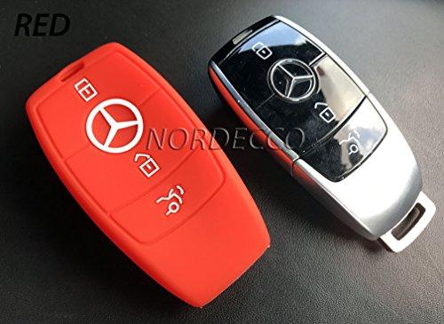 Custodia protettiva di alta qualità in silicone per telecomando auto a 3pulsanti per Mercedes Benz Classe C, AMG, Classe E, Classe S, Serie CLA, Serie GLA ibrida, modelli 2016 e 2017 (rosso)