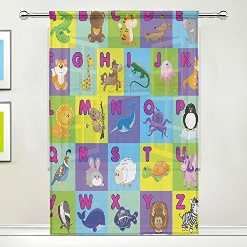 Use7 Vorhang für Kinder, Tier-Alphabet, 139,7 x 213,4 cm, 1 Stück, Moderne Fensterbehandlung, für Kinder, Zuhause, Wohnzimmer, Esszimmer, Spielzimmer, Dekoration - Wohn-alphabet