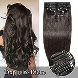 TESS Clip in Extensions Echthaar Naturschwarz Haarteile guenstig Haarverlängerung Doppelt Tressen für komplette Haarextension 8 Teile 18 Clips Glatt 7A Dick Hair (45cm-140g, 1B)